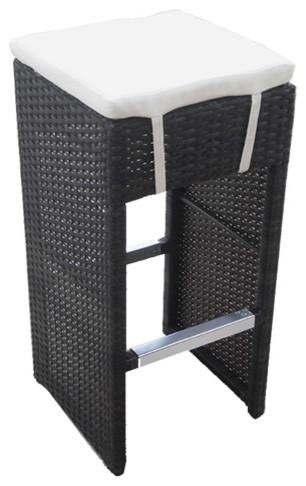 Hampton Woven Wicker Outdoor Chair/bar Stool, Espresso.