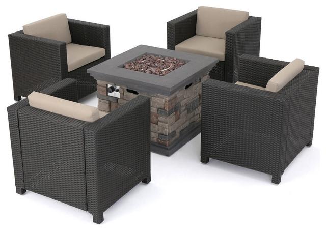 GDF Studio 4-Piece Portola Outdoor Wicker Club Chair Set & Stone Firepit