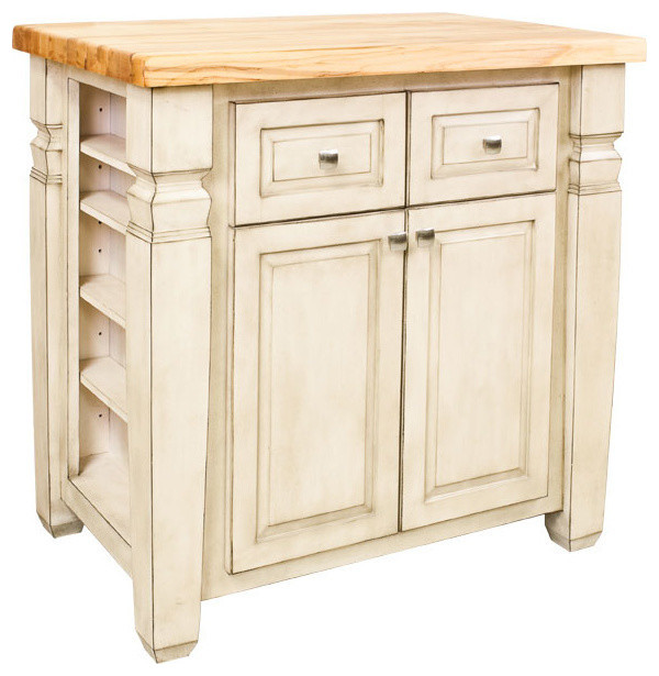 Boston Kitchen Island Cabinet, Antique-Style White.