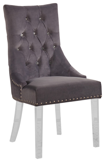 Gobi Modern and Contemporary Tufted Dining Chair Acrylic Gray  sc 1 st  Houzz & Gobi Modern and Contemporary Tufted Dining Chair Acrylic Gray ...