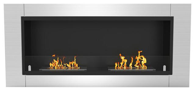 Fargo 43 Ventless Built, Recessed Bio Ethanol Wall Mounted Fireplace.