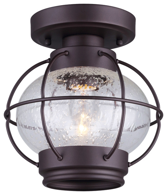 Canarm Potter 1-Light Flush Mount With Seeded Glass, Oil Rubbed Bronze Finish.