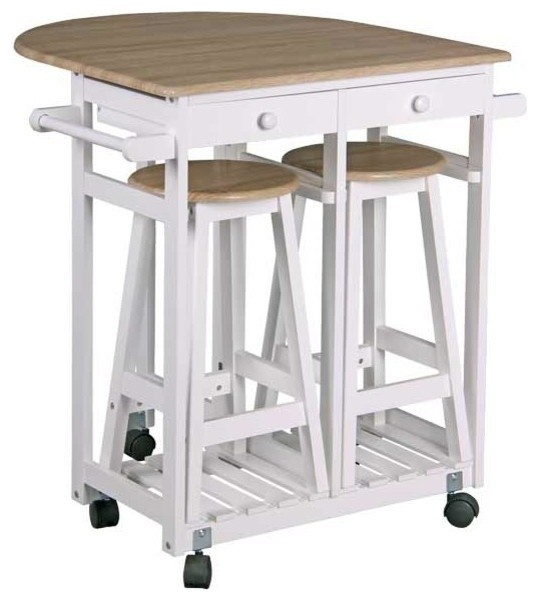 Beau Kitchen Trolley With 2 Stools And Drawers