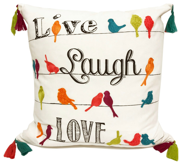 Fennco Styles - Fun Inspirational Tasseled Decorative Throw Pillow - View in Your Room! Houzz