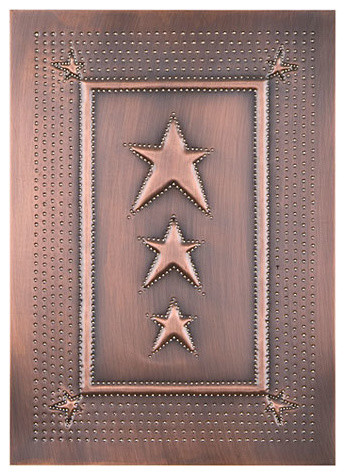 Superb Four Handcrafted Punched Tin Cabinet Panels Three Star Embossed Pattern,  Copper