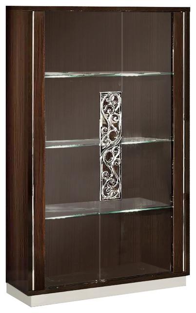Roma 2 Door Curio Walnut Contemporary China Cabinets And Hutches