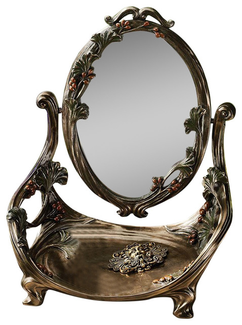 guimard art nouveau vanity table mirror with stand victorian makeup mirrors by design toscano. Black Bedroom Furniture Sets. Home Design Ideas