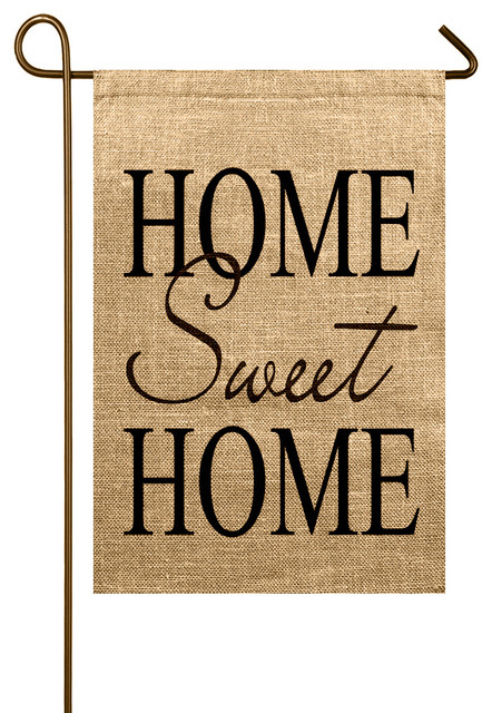 Home Sweet Home Burlap Garden Flag Rustic Flags And Flagpoles