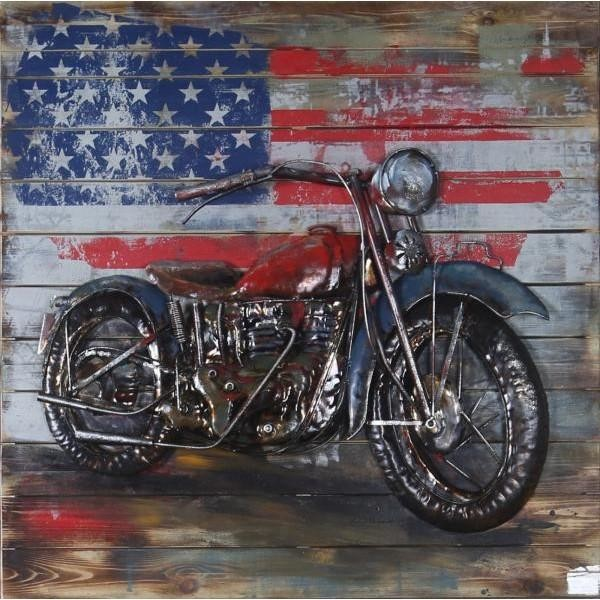 Harley Davidson With American Flag 3Dimensional Wall Painting Decoration  Metal   Industrial   Paintings   By European Bronze Finery