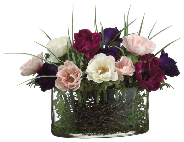 Oval glass vase traditional artificial flower arrangements by oval glass vase mightylinksfo