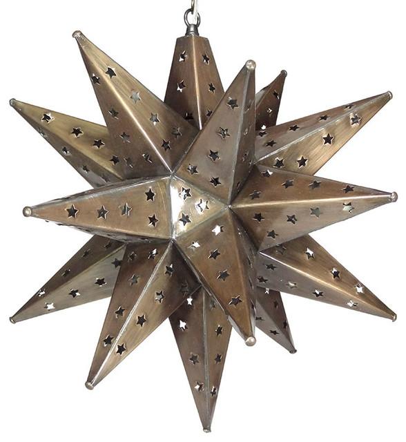Moravian Star Light, Star Pierced Tin, Bronze , 20.
