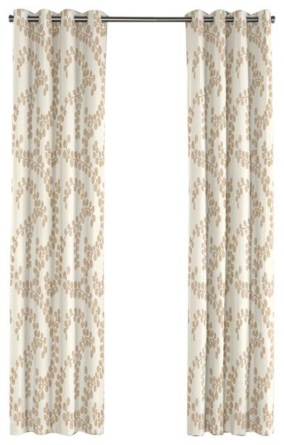 Swirl Print Gold Metallic Grommet Curtain - Contemporary ...