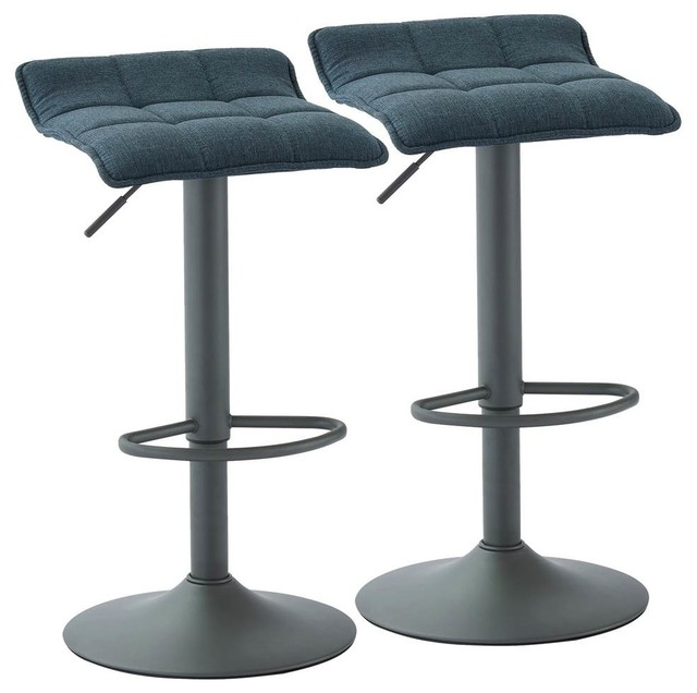 Pleasing Fabric Stools Blue And Gray Set Of 2 Cjindustries Chair Design For Home Cjindustriesco