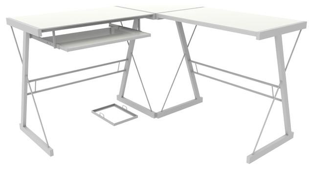 Ryan Rove Madison 3 Piece Corner L Shaped Computer Desk In White
