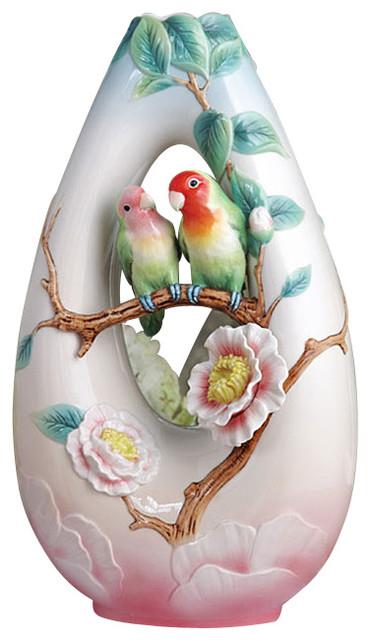 Franz Porcelain Collection Sweet Partners Rosy Faced Lovebirds Vase