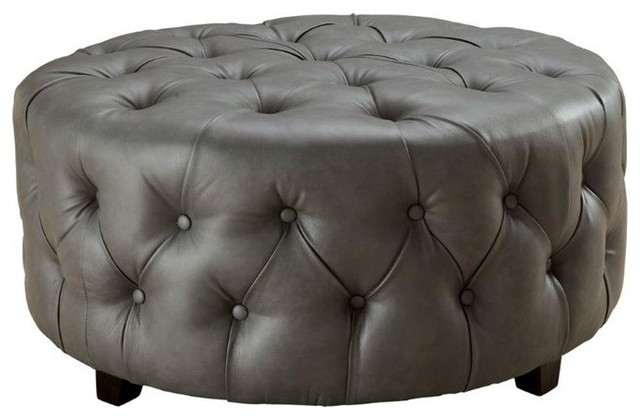 Furniture Of America Latoya Round Tufted Leather Ottoman Gray