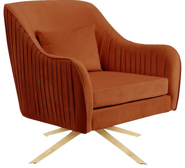 Paloma Cognac Velvet Accent Chair, Cognac