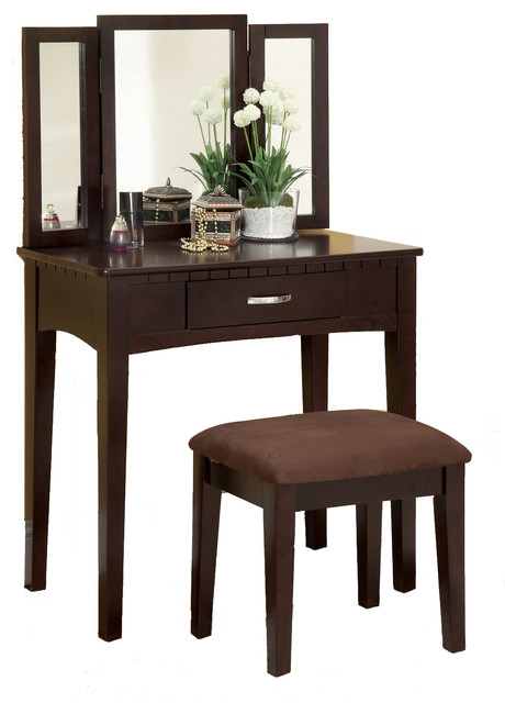 Mirrored Vanity Table And Stool: Tri-Folding Mirror Vanity Make-Up Table Upholstered Stool