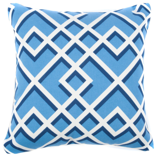 Blue Geometric Throw Pillows : Geometric Throw Pillow, Blue - Contemporary - Outdoor Cushions And Pillows - by Jiti