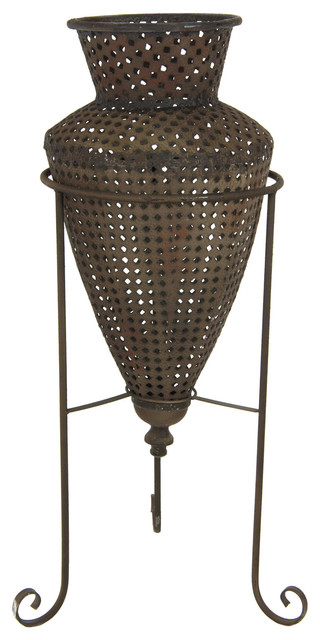 Wrought Iron Perforated Flower Vase Vases By Oriental Furniture