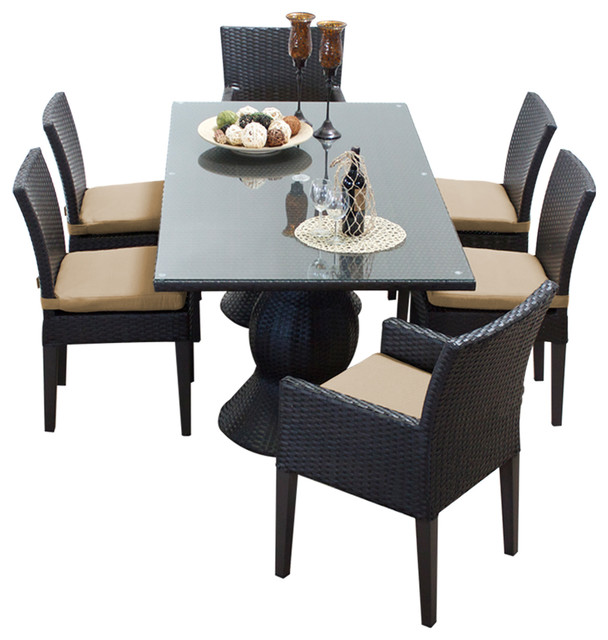 Tk classics saturn rectangular outdoor dining table with chairs 7 piece set tan view in - Must have pieces for your patio furniture ...