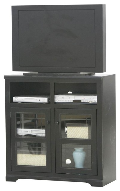 Tall Plain Glass Door Tv Console, Antique Black.