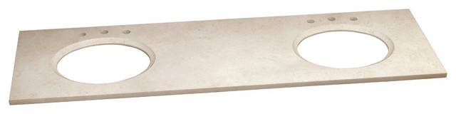 "Geo Marble Double-Sink Vanity Top, Creamy Beige, 8"" Spread Holes, 73""x22""."