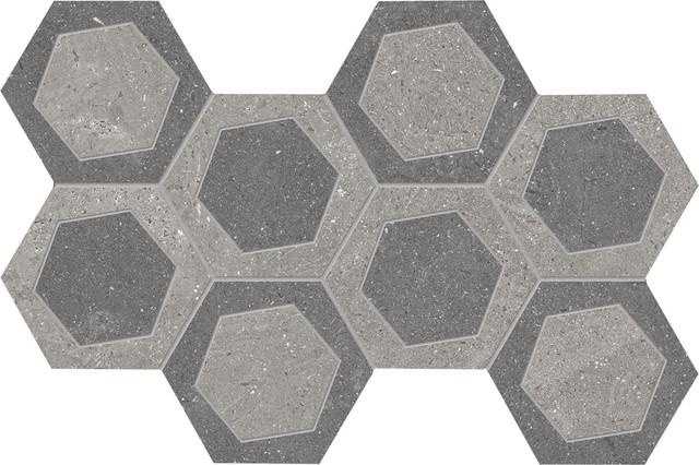 Gray/Dark Gray Esagona Bicolor Mesh-Mounted Mosaic Natural Finish 8