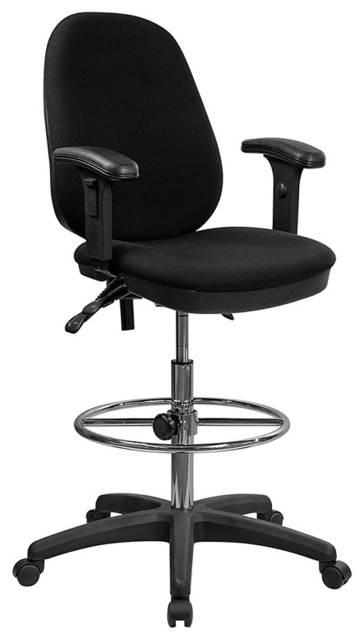 Offex Ergonomic Triple Paddle Drafting Stool With Adjustable Foot Ring And Arms.