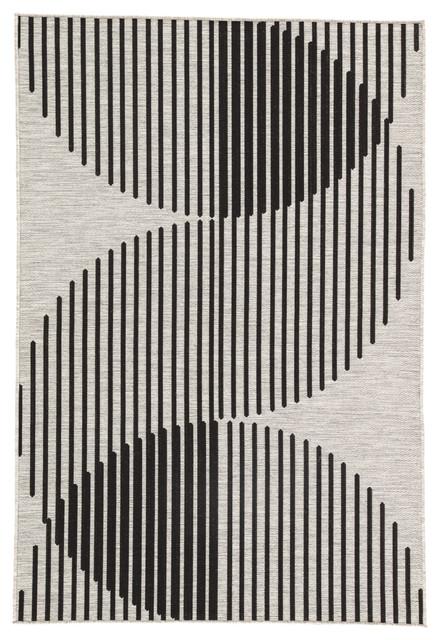 "Nikki Chu Tangra Indoor/outdoor Geometric Silver/black Area Rug, 5&x27;3""x7&x27;6""."