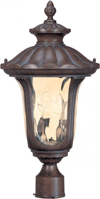 Nuvo Beaumont Fruitwood And Amber Water Glass Outdoor Post Top Light.