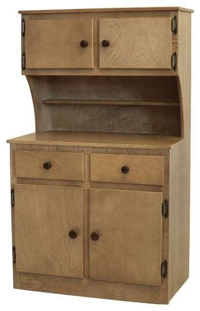 Toy Kitchen Play Set With Wooden Cabinet Hutch
