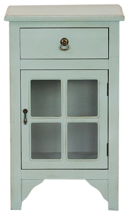 1-Drawer, 1-Door Accent Cabinet With Paned Glass Inserts, MDF, Wood Clear Glass