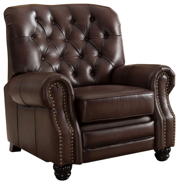 39 Marshall 100 Leather Recliner Chair Brown Transitional Recli