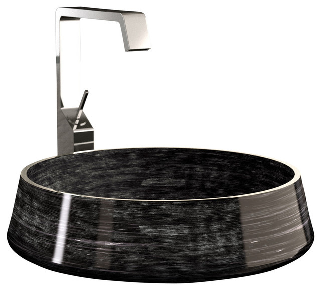 Alumix Exte Luxury Vessel Sink, Black And Silver.