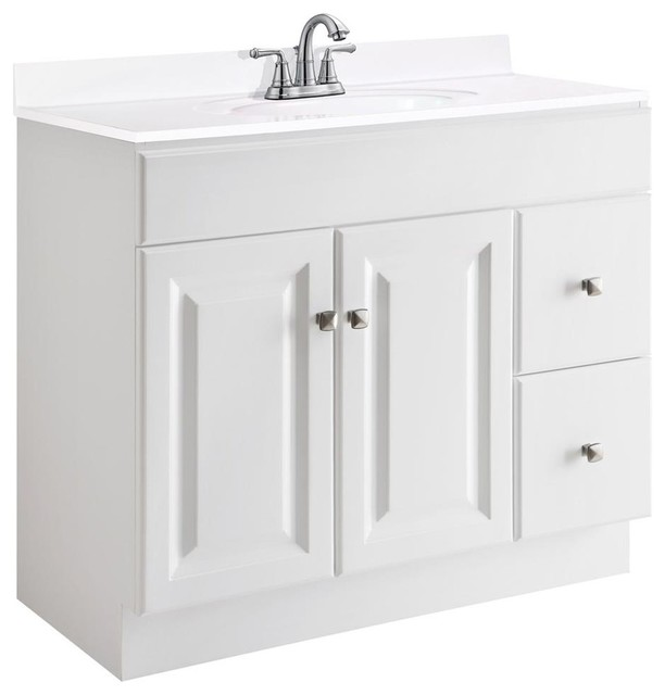 36 In. Vanity Cabinet In White Finish (36 In. W X 18 In. D X 31.5 In. H (77 Lbs..