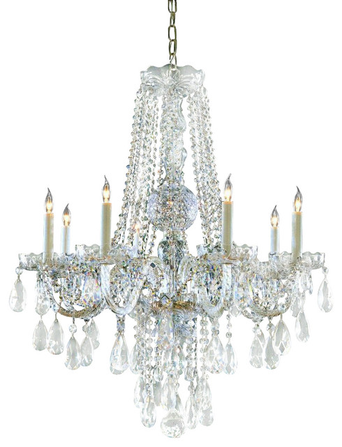 Traditional crystal eight light polished brass up chandelier traditional chandeliers by we - Traditional crystal chandeliers ...