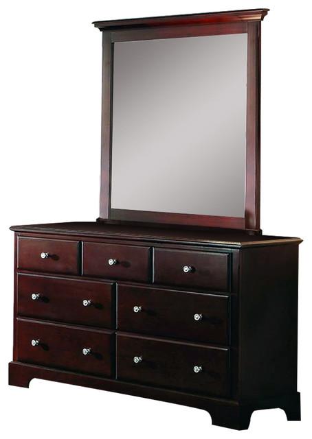 Homelegance Morelle 7-Drawer Dresser And Mirror In Cherry.