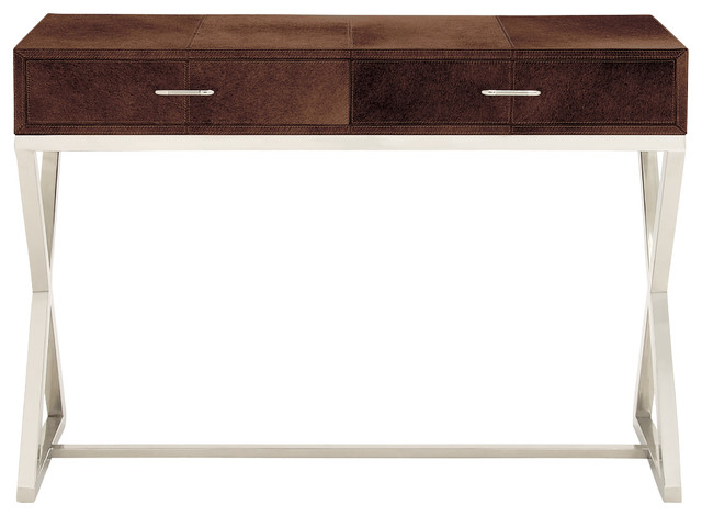 Delicieux Contemporary Style Stainless Steel Leather Console Table Home Decor
