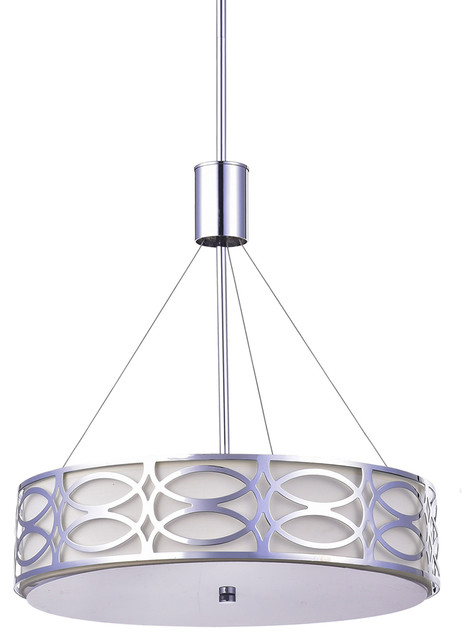 5 Light Chrome Metal And Ivory Linen Round Drum Pendant Chandelier