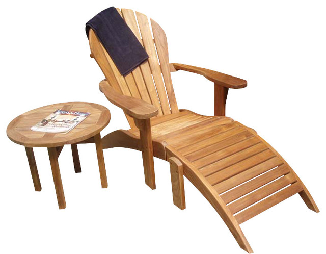 Classic Teak Adirondack Chair With Ottoman Amp Reviews Houzz