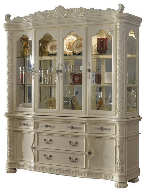 madrid hutch and buffet pearl white