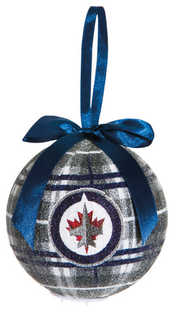 winnipeg jets light up led sparkle plaid christmas ornament contemporary christmas ornaments - Plaid Christmas Ornaments