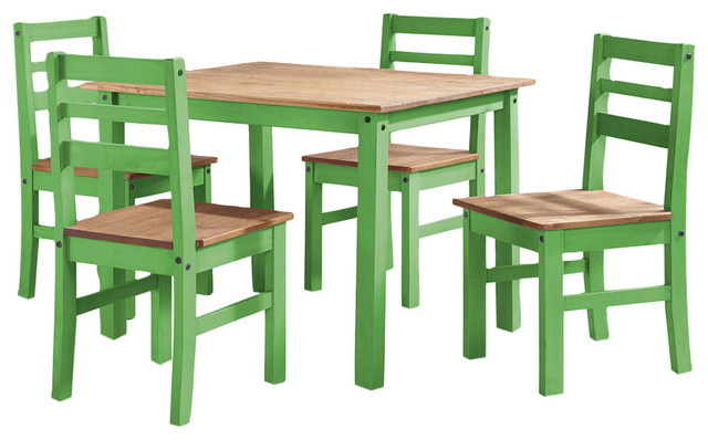 Maiden 5-Piece Solid Wood Dining Set With 1 Table And 4 Chairs, Green.