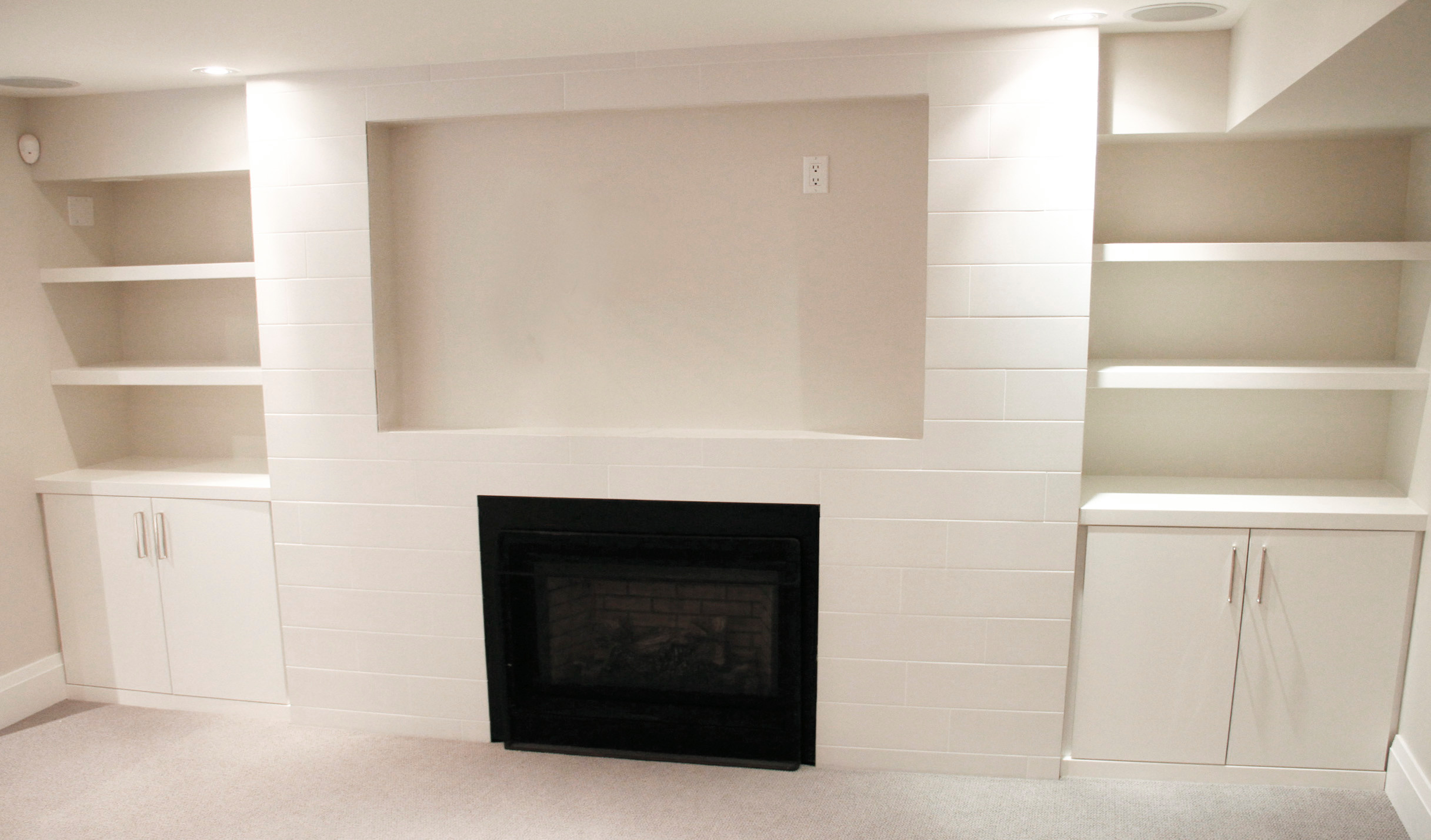 Basement/ Family Room Built-in Cabinetry and Banquette