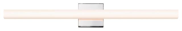 """SQ-Bar LED Vanity Light With White Acrylic Shade, Polished Chrome, 32"""""""