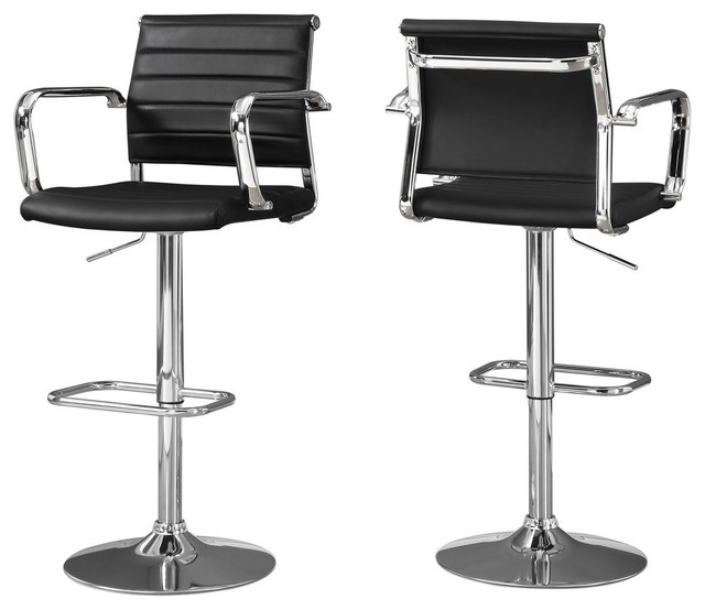 Monarch Foam and MDF and Metal 2-Piece Bar Stool, Black Finish by Monarch