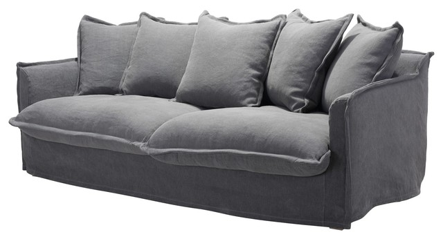 Modern Deco Contemporary Sofa, Gray, Cotton Linen Blend - Transitional - Sofas - By House Bound