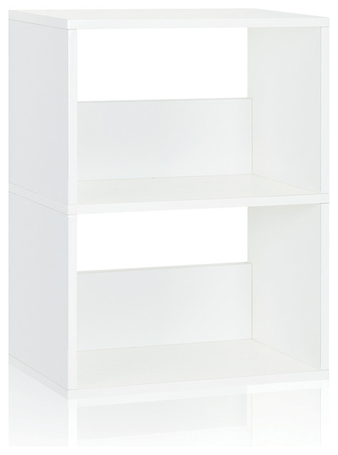 Eco 2-Shelf Duplex Bookase Storage Shelf, Non Toxic Z-Board, Natural White.