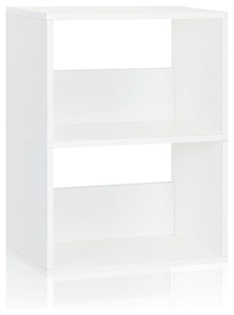 Eco 2-Shelf Duplex Bookase Storage Shelf, Non Toxic Z-Board, Natural White.